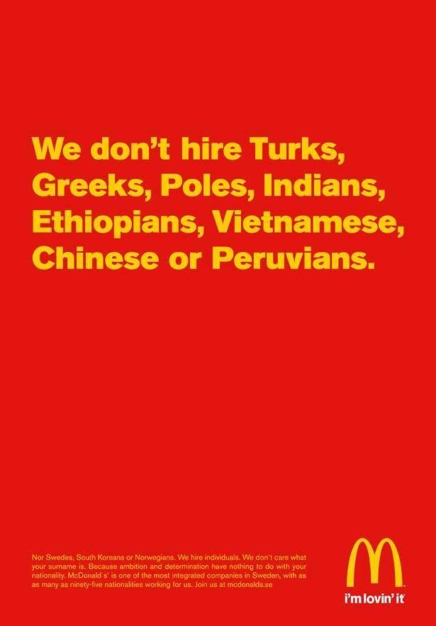 McDonalds Sweden doesn't hire Turks or Greeks
