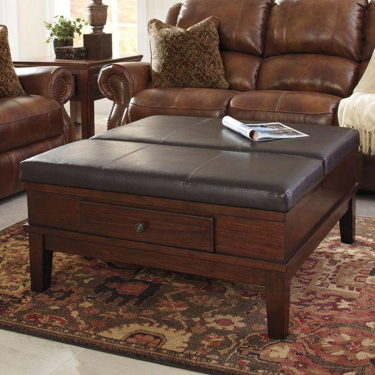 Ottoman Cocktail Table Vintage Gately Medium Brown Faux Leather Top Furniture #SignatureDesignsbyAshley #Vintage #Leather #Furniture #LivingRoom #Table