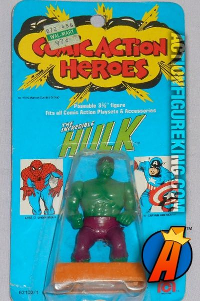 Check out our huge database of new and vintage collectibles including Mego's Comic Action Heroes... http://actionfigureking.com/list-3/mego/265-mego-comic-action-heroes-database-of-tys-and-collectibles Mego Comic Action Heroes 3.75-inch Hulk action figure. #hulk #comicactionheroes #mego #actionfigures #avengers