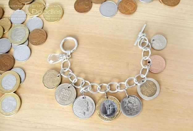 Coin Bracelet - currency of all the places you have been - travel memories - traveller crafts - DIY