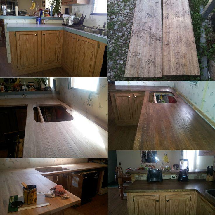 Diy rustic wood kitchen countertops.   Diy Kitchen redo