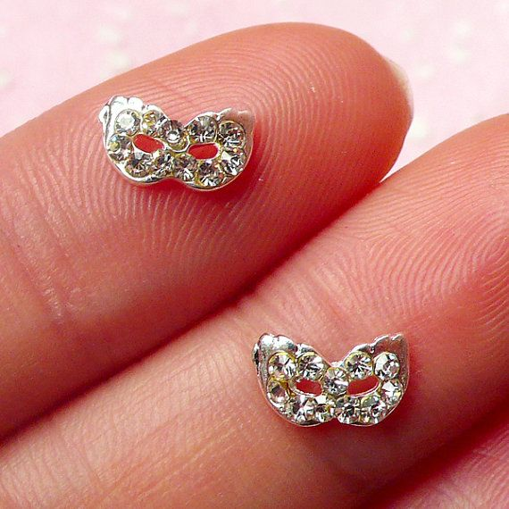 Tiny Masquerade Mask Cabochon 2pcs / 8mm Silver by MiniatureSweet, $2.39