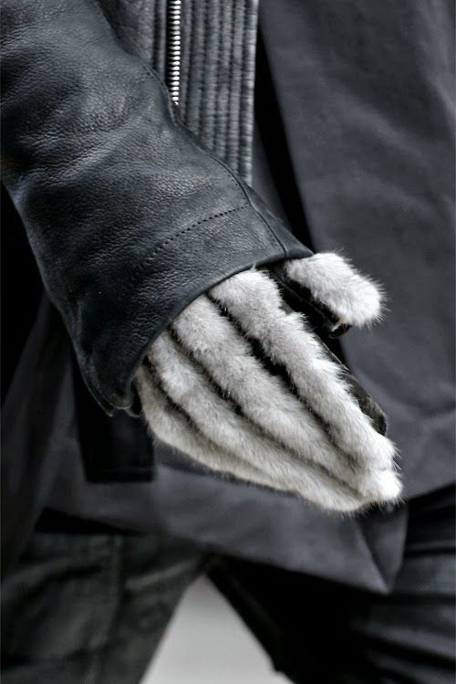 Furry gloves.
