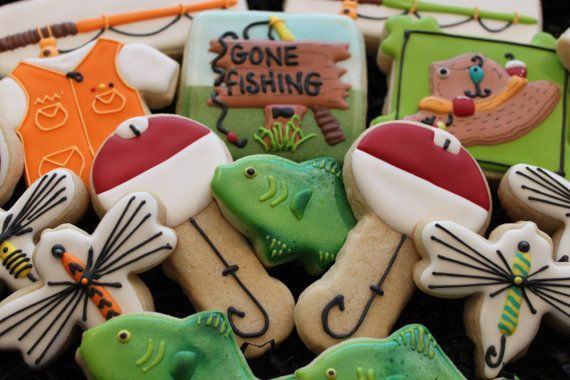 Gone fishing cookies, fish cookies, custom cookies, Father's Day cookie, birthday cookies, fishermen, mens gift, sugar cookies