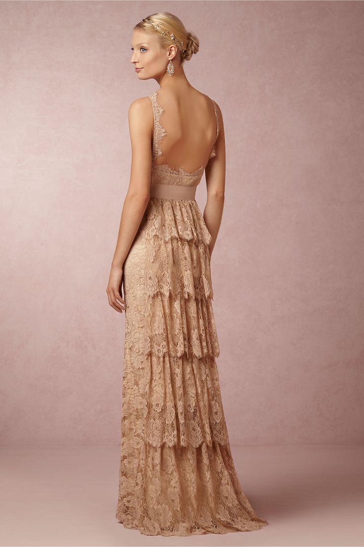 Ruffled blush lace wedding dress