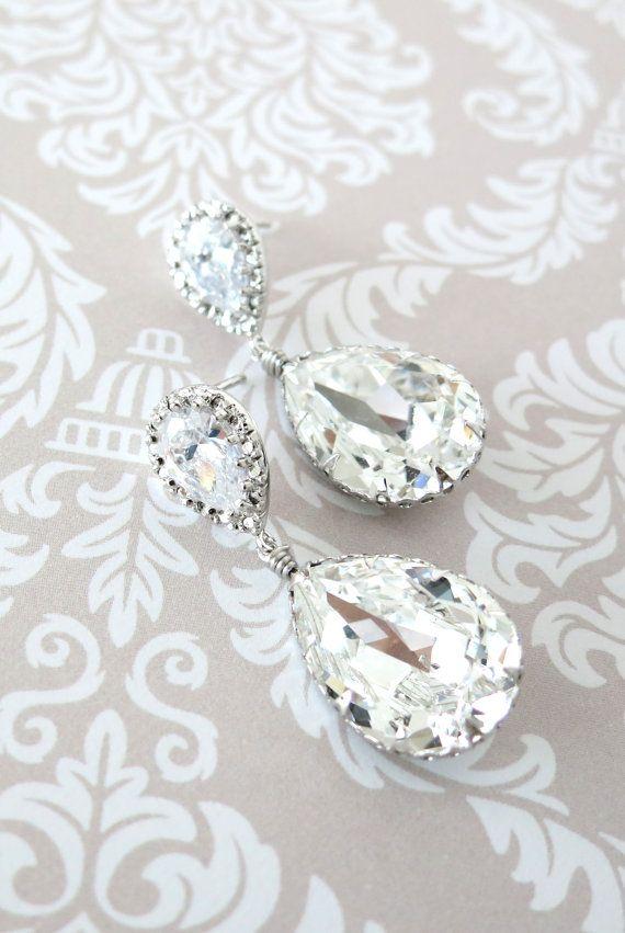 Sandra  Swarovski Crystal Teardrop Earrings Silver by GlitzAndLove