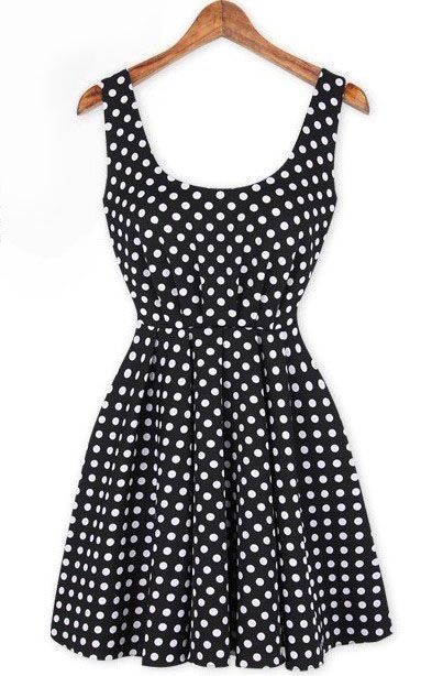 Black Sleeveless Polka Dot Backless Bow Dress US$25.90