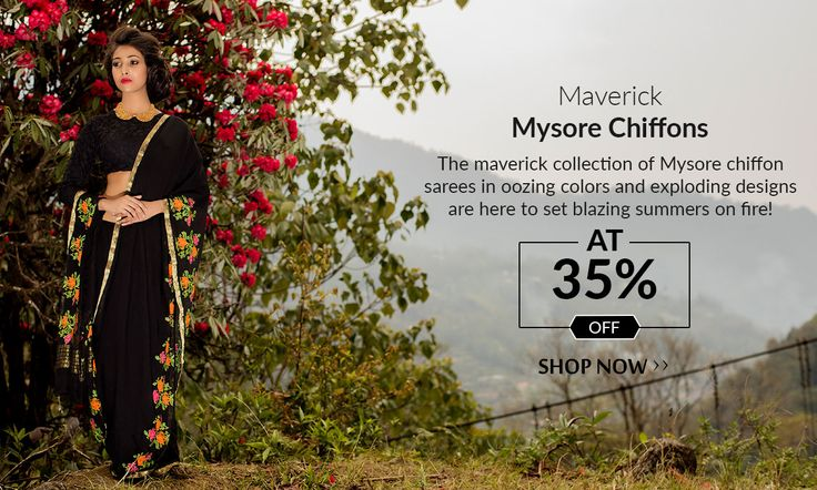 Today's Launch: Purest Chiffon sarees from Mysore at 35% less!