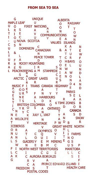 From Sea To Sea - Canada - Crosswords by Barbara Griffin - From Sea To Sea - Canada - Crosswords Digital Art - From Sea To Sea - Canada - Crosswords Fine Art Prints and Posters for Sale