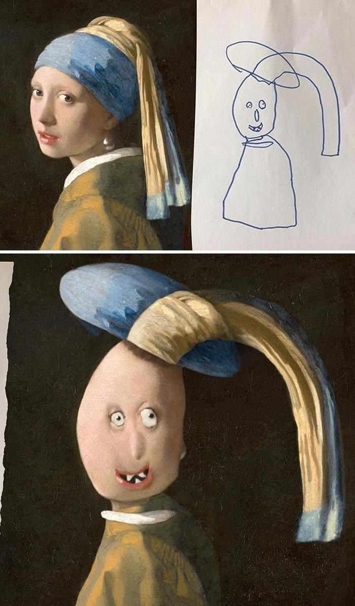 Kids Drawings Recreated Are Made Out Of Nightmares In 2021 Funny Kid Drawings Funny Drawings Drawings