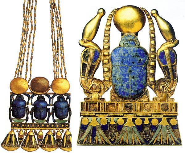 Ancient Egyptian necklace with pectoral depicting three lapis lazuli scarabs; pectoral belonging to Pharaoh Sheshonq II with precious stones and faience