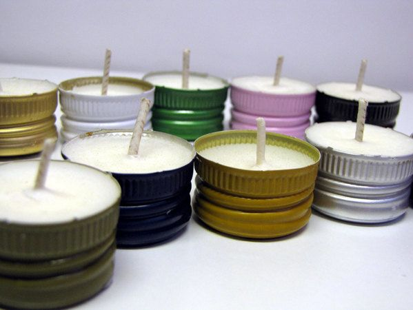 Turn screw-off wine-bottle caps into candles.