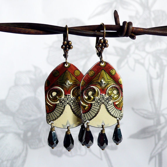 zingaro  vintage tin and czech glass earrings by littleblackrabbit, $42.00