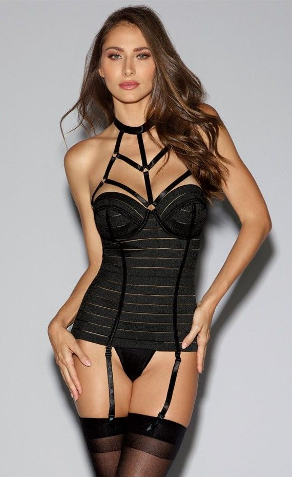 de24e25a9 Dreamgirl Bandage Bustier With Underwire Cups. Dress to thrill in a black  Bandage-style bustier with underwire cups. Strappy high neckline bustier  featuring ...