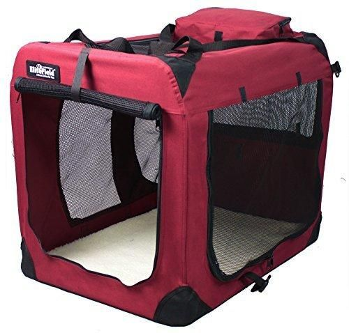 "EliteField 3-Door Folding Soft Dog Crate Indoor & Outdoor Pet Home Multiple Sizes and Colors Available (20""L x 14""W x 14""H Maroon)"