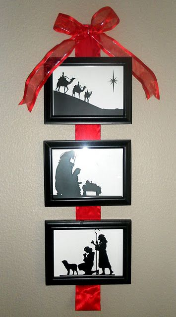 Wall Nativity-  made this with a 3 in 1 frame (5x7).  used different paper as the background in each one i made.  so cute!  let those you give them to as gifts add the ribbon if they want :)
