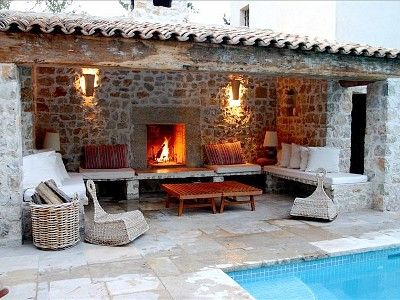 Callas house rental - cool poolside lounging by day or cosy fireplace at night