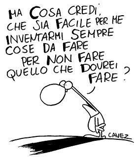 n.001 COSA — Ma cosa credi..? cartoon by Massimo Cavezzali {Click through to see translation in English} as seen in ITALIAN: The most-used nouns, a digital magazine by Via Optimae, www.viaoptimae.com