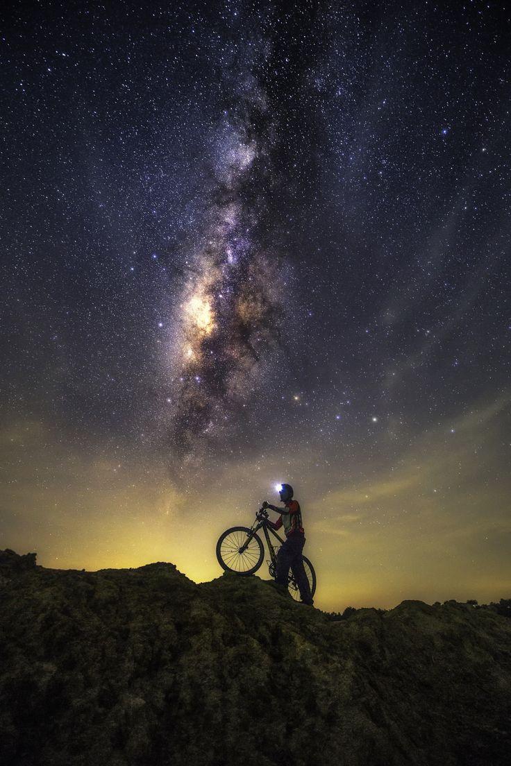 Bike into the stars, by Chaiyun Damkaew... #bicycle #bike #clouds #hope #light #lights #longexposure #milkyway #night #sky #stars