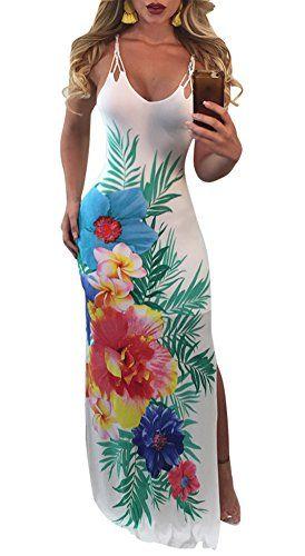 54704d44839 Darceeneth Women Floral Maxi Dress Sexy Spaghetti Strap Crisscross Backless  Summer Boho Long Dress