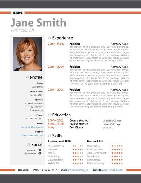 Find the Orange Modern Resume Template on www.cvfolio.com