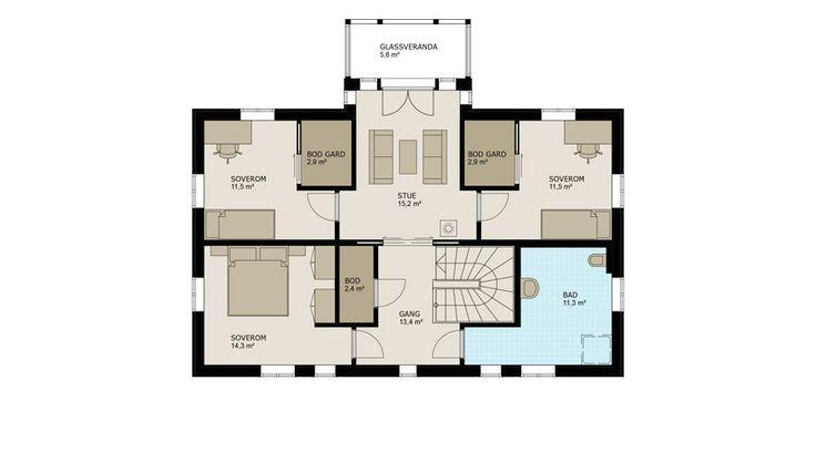 Andre etasje består av tre soverom – alle med integrert stor garderobe. I tillegg har du bad, bod og stue. Fra stua er det utgang til den fine glassverandaen, som er en ekstra koseplass både sommer og vinter.