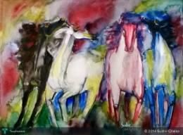 """""""Abstract Horses (Water Colour)"""" #Creative #Art in #painting @Touchtalent"""