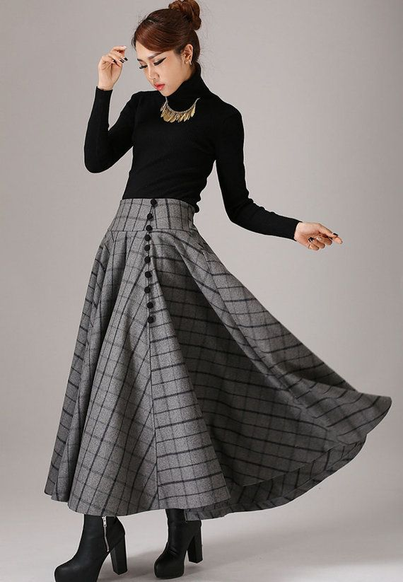 wool plaid skirt winter skirt long skirt maxi skirt