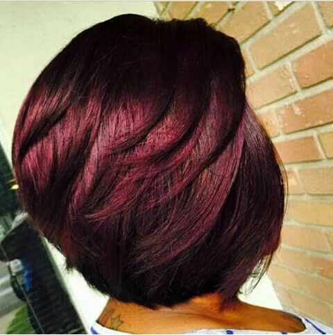 Wine colored hair on short bob