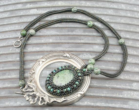 African Turquoise and Jasper Stones Green Beaded Necklace