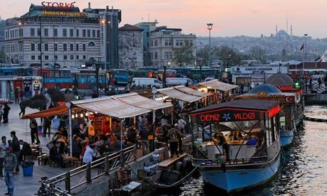 Fish sandwiches on sale in boats on the shore of the Golden Horn, Istanbul, Turkey Photograph: Alamy