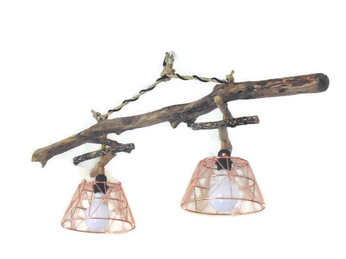 Lustre/plafonnier en bois flotté et métal cuivre rose - création unique - double suspension - Led
