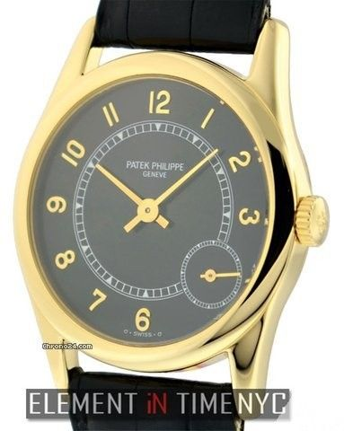Patek Philippe Calatrava 18k Yellow Gold Black Dial Ref. 5000J Price On Request