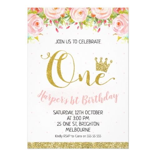 Crown Floral Princess 1st Birthday Invitation Zazzle Com In 2019