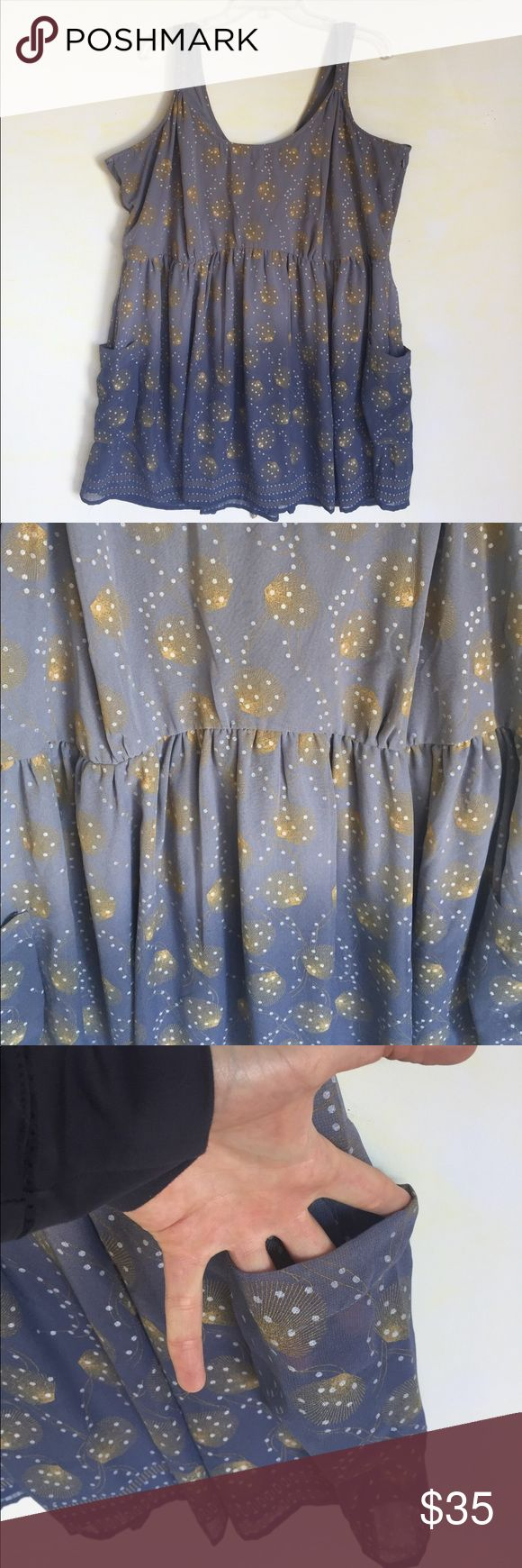 Joe Browns Blue & Gold Dress, Size 22 This darling Joe Browns Blue & Gold Dress, Size 22 practically glows in the light and will keep you glowing while wearing it  EXCELLENT CONDITION, NO DEFECTS & COMES FROM A SMOKE FREE HOME. Joe Browns Dresses Midi