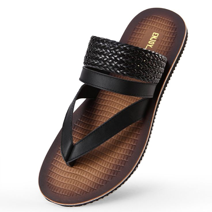 Male flip-flop sandals fashion genuine leather slippers flip flops shoes male sandals US $89.27