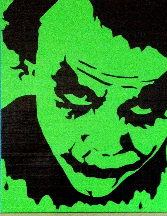 Green 24x30 duct taped street art stencil of the joker (heath ledger) on canvas...