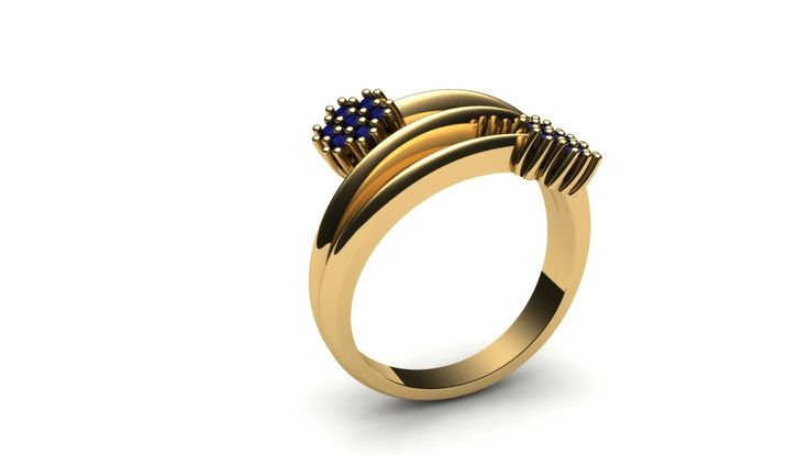 Cluster ring_Yellow Gold