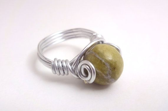 Green Marble Stone Silver Wire Wrapped Ring