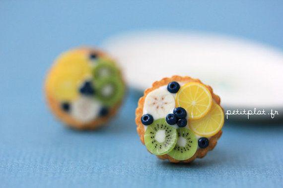 Boucles d'Oreilles Tartes aux Fruits  Kiwi Bananes et par PetitPlat
