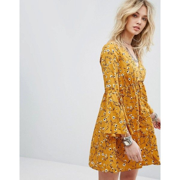 Influence Flare Sleeve Dress ($35) ❤ liked on Polyvore featuring dresses, yellow, v neck jersey, yellow jersey, bell sleeve dress, tie-dye maxi skirts and yellow maxi skirt