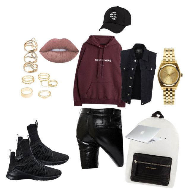 """OOTD"" by madisonkiss on Polyvore featuring LE3NO, Charlotte Russe, Puma, Nixon, Each X Other, Alexander McQueen and Lime Crime"