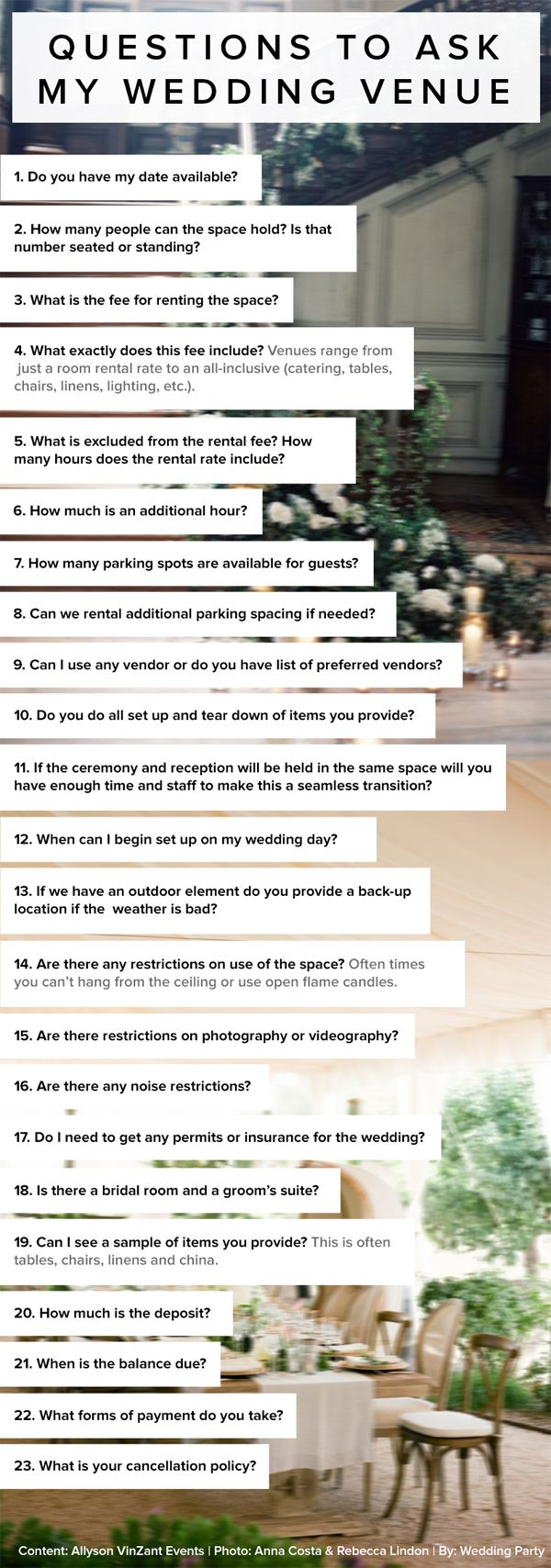 It's a great idea to send this via email to potential venues, or ask this questions over a phone interview, then compare them later. I love it!