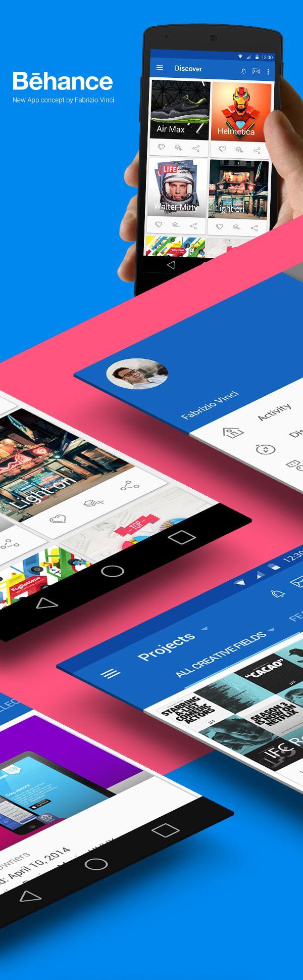 Behance New App Concept (Material Design) on Behance