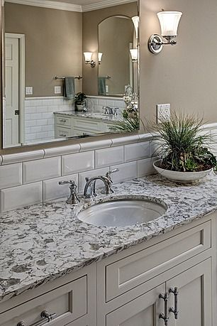 Traditional Master Bathroom With Flat Panel Cabinets Powder Room Crown Molding Simple Granite Counters Undermount Sink