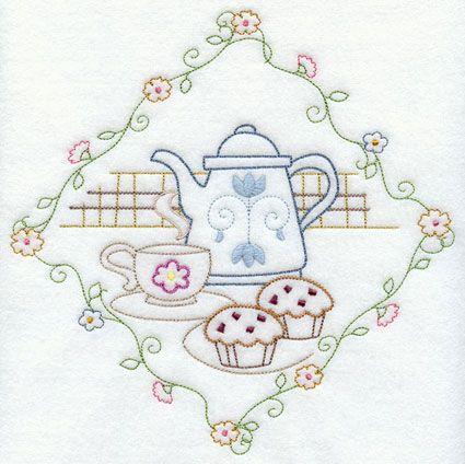 Patrón bordado a mano - Té y Pan para paños de cocina 3 de 7