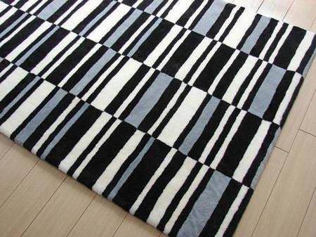 black white blue striped sheepskin modern rug stripes