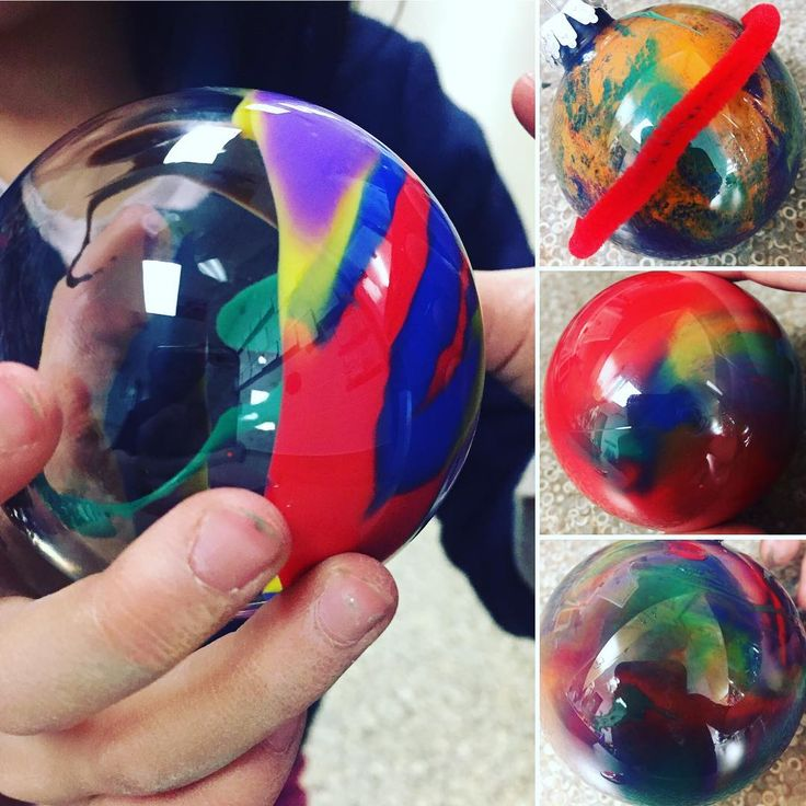 """30 Likes, 3 Comments - Laura King (@kindergartenteachertired) on Instagram: """"Paint swirl planets!.... because who can resist 85% off packs of clear ornaments at Michaels?!?…"""""""