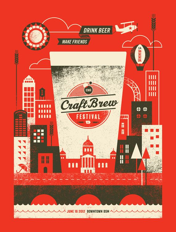 2012 Craft Brew Festival Poster by BasemintDesign on Etsy, $20.00