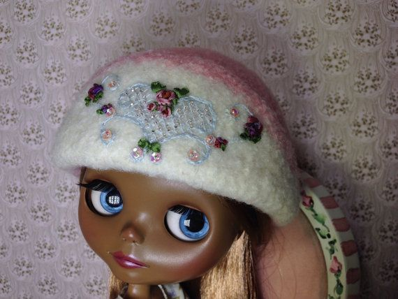 OOAK Grey felted wool clouche hat for Blythe by TinyTwirlySkirts